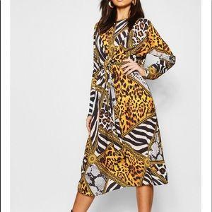 Boohoo knit front leopard chain midi dress